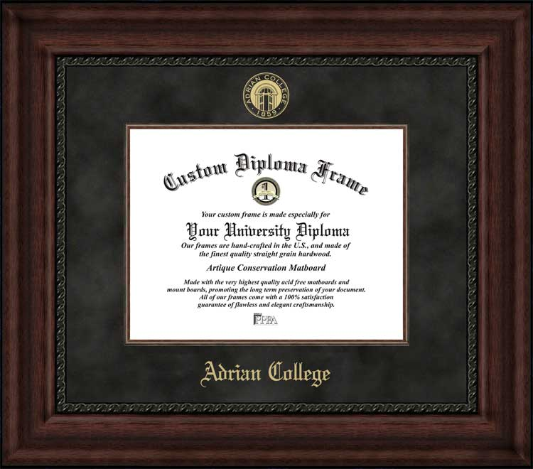 College - Adrian College Bulldogs - Embossed Seal - Suede Mat - Mahogany - Diploma Frame