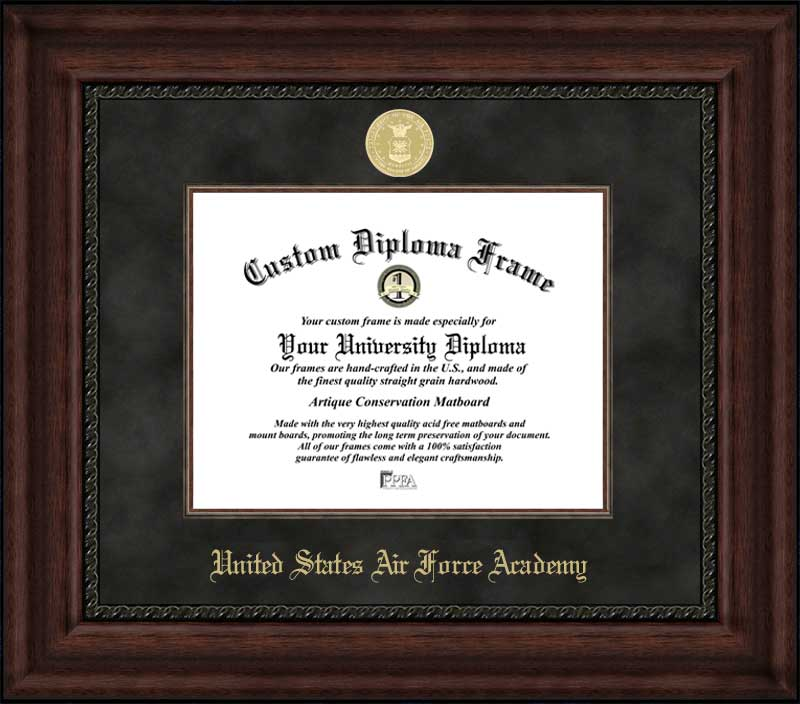 College - United States Air Force Academy Falcons - Gold Medallion - Suede Mat - Mahogany - Diploma Frame