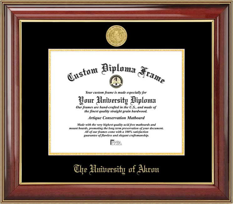 College - University of Akron Zips - Gold Medallion - Mahogany Gold Trim - Diploma Frame