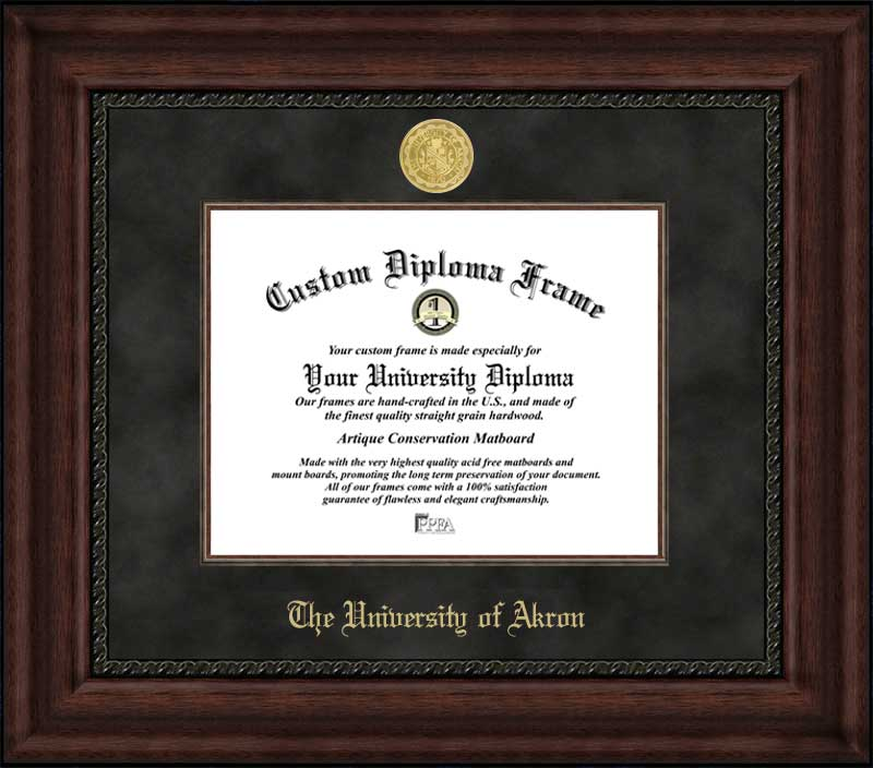 College - University of Akron Zips - Gold Medallion - Suede Mat - Mahogany - Diploma Frame
