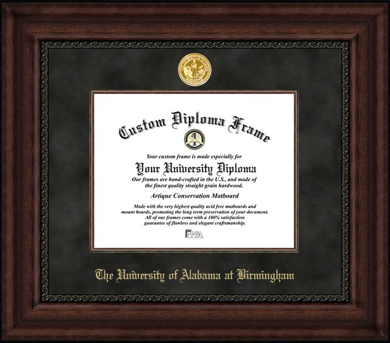 College - University of Alabama at Birmingham Blazers - Gold Medallion - Suede Mat - Mahogany - Diploma Frame