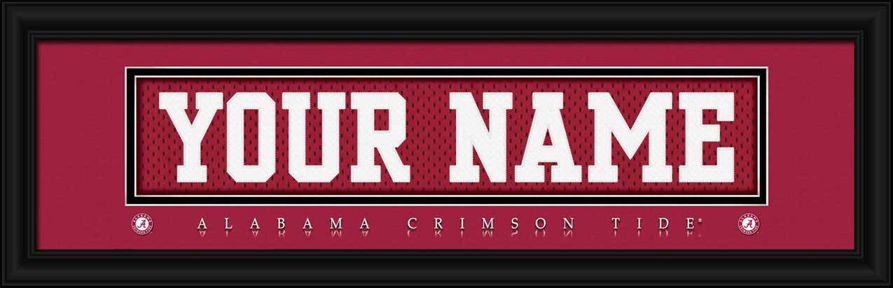 College - Alabama Crimson Tide - Personalized Jersey Nameplate - Framed Picture