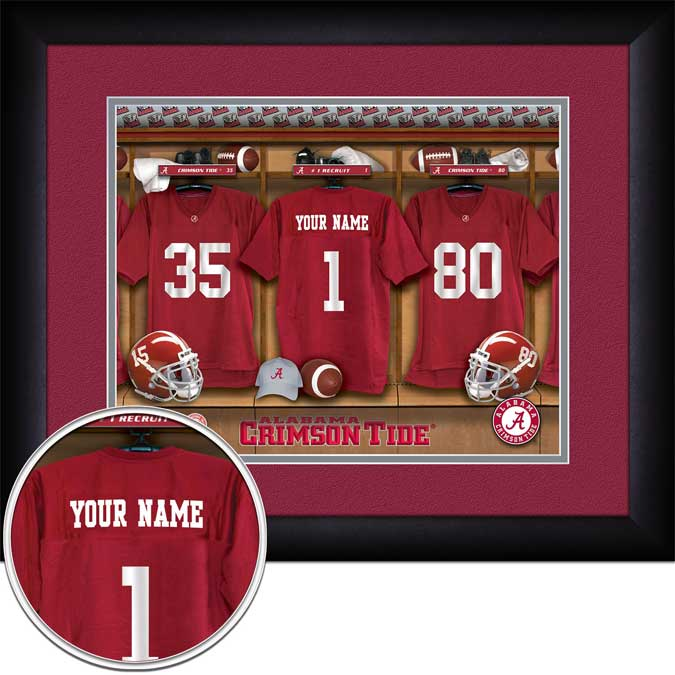 College - Alabama Crimson Tide - Personalized Locker Room - Framed Picture