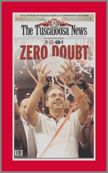 College - Alabama Crimson Tide - 2012 BCS Champs - Zero Doubt - Plaque Mounted & Laminated Newspaper