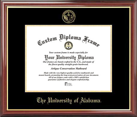 College - University of Alabama Tuscaloosa Crimson Tide - Embossed Seal - Mahogany Gold Trim - Diploma Frame