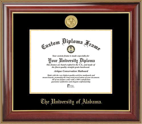 College - University of Alabama Tuscaloosa Crimson Tide - Gold Medallion - Mahogany Gold Trim - Diploma Frame