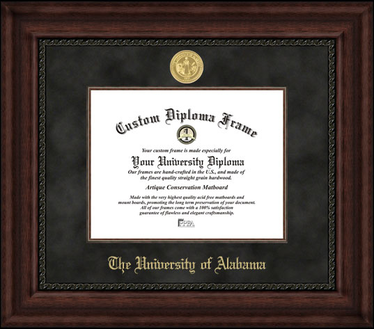 College - University of Alabama Tuscaloosa Crimson Tide - Gold Medallion - Suede Mat - Mahogany - Diploma Frame