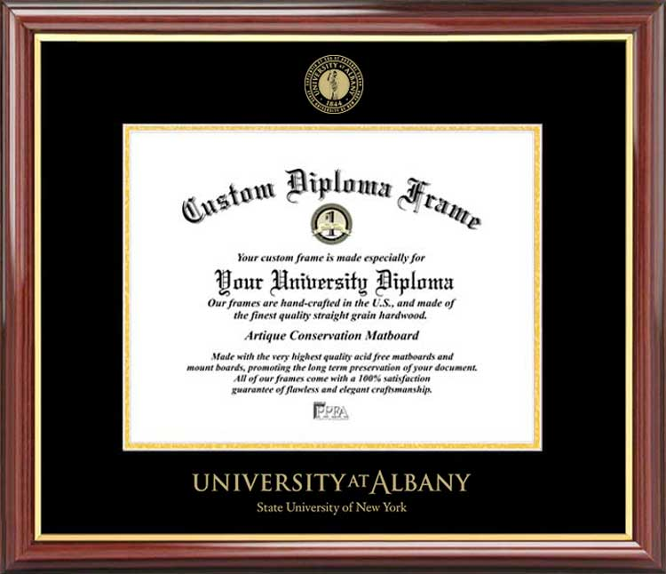 College - University at Albany, SUNY Great Danes - Embossed Seal - Mahogany Gold Trim - Diploma Frame