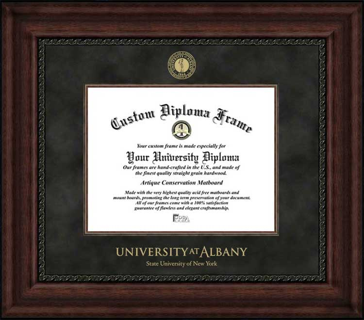College - University at Albany, SUNY Great Danes - Embossed Seal - Suede Mat - Mahogany - Diploma Frame