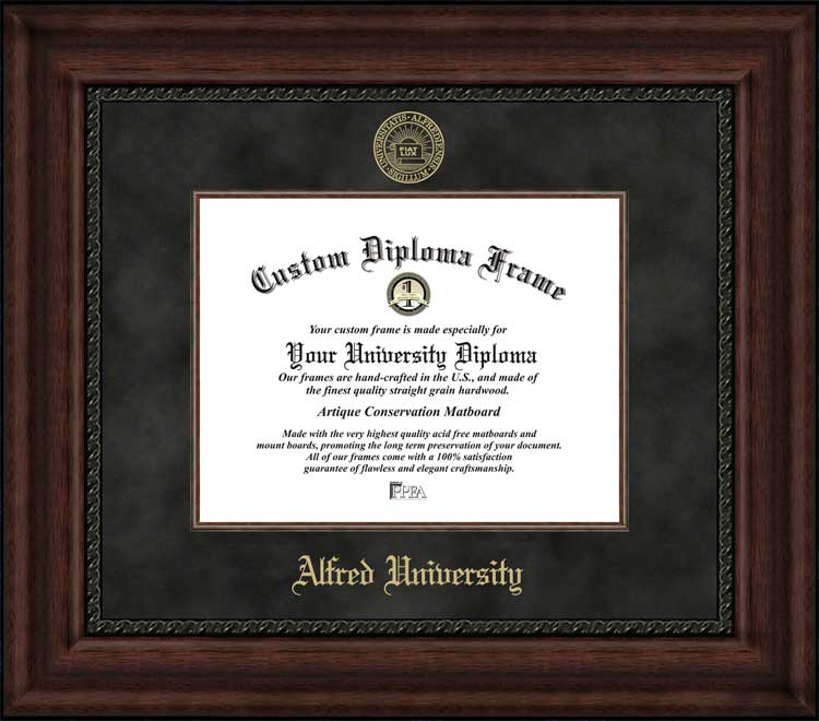 College - Alfred University Saxons - Embossed Seal - Suede Mat - Mahogany - Diploma Frame