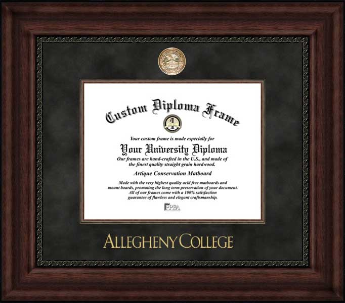 College - Allegheny College Gators - Gold Medallion - Suede Mat - Mahogany - Diploma Frame
