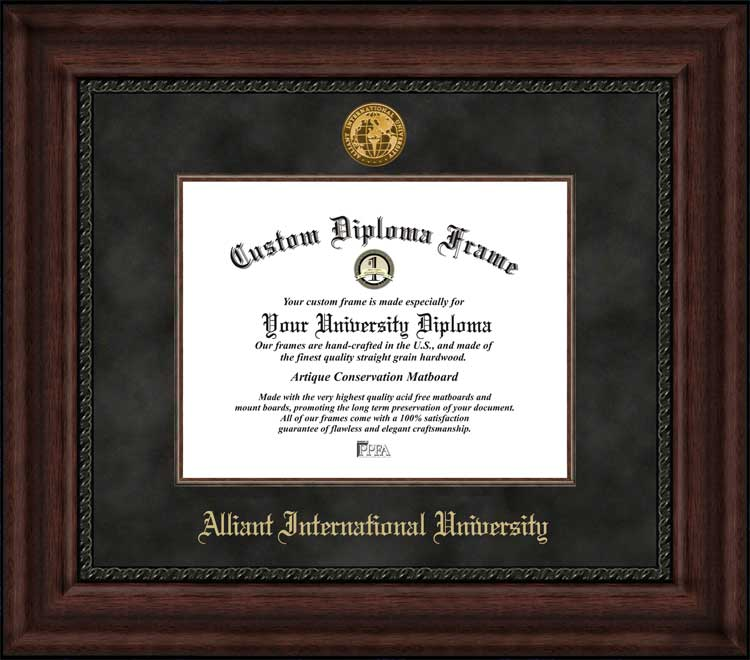 College - Alliant International University  - Gold Medallion - Suede Mat - Mahogany - Diploma Frame
