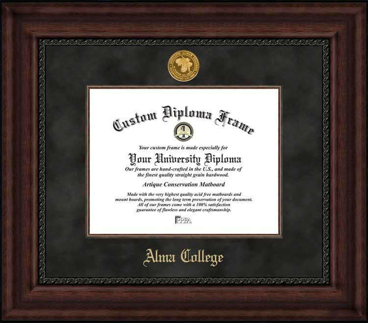 College - Alma College Scots - Gold Medallion - Suede Mat - Mahogany - Diploma Frame