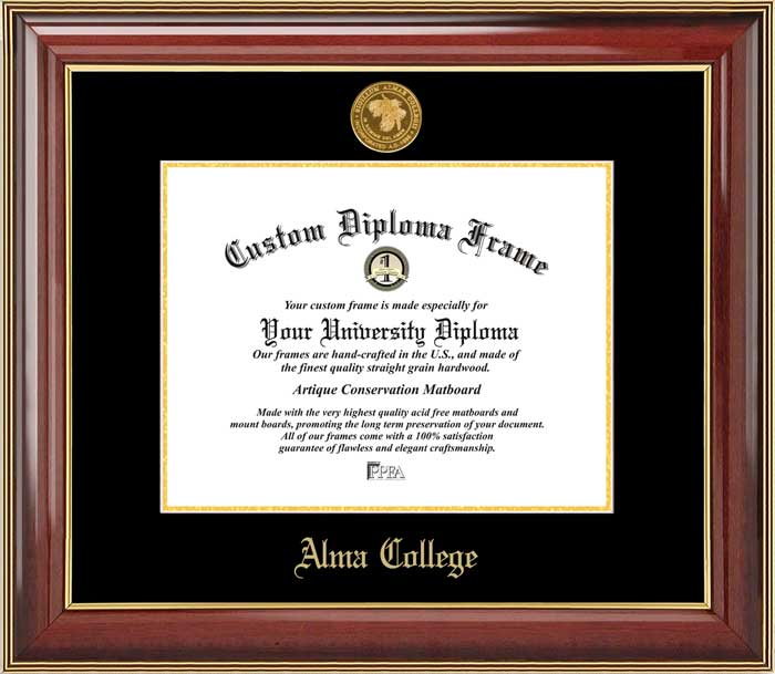 College - Alma College Scots - Gold Medallion - Mahogany Gold Trim - Diploma Frame