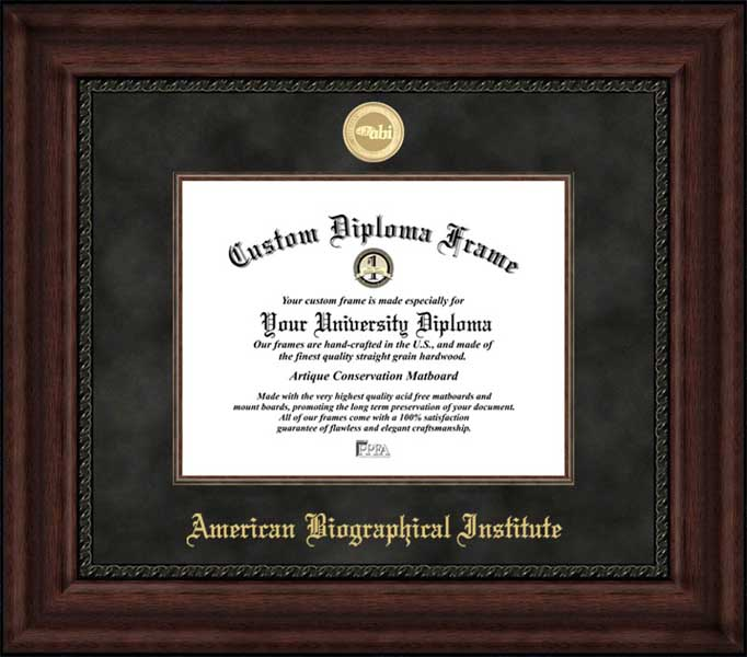 College - American Biographical Institute  - Gold Medallion - Suede Mat - Mahogany - Diploma Frame