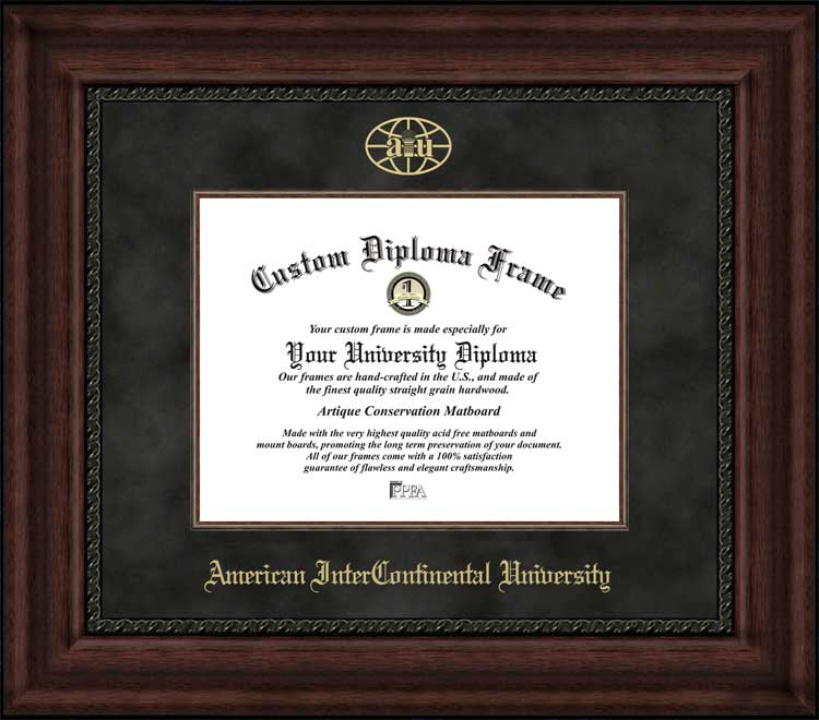 College - American InterContinental University  - Embossed Logo - Suede Mat - Mahogany - Diploma Frame