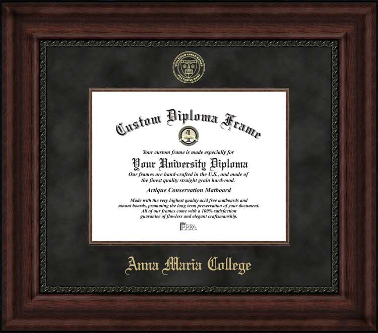 College - Anna Maria College Anna Maria AMCATS - Embossed Seal - Suede Mat - Mahogany - Diploma Frame