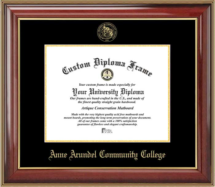College - Anne Arundel Community College Pioneers - Embossed Seal - Mahogany Gold Trim - Diploma Frame