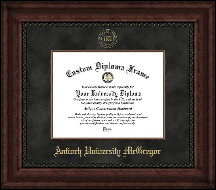 College - Antioch University McGregor  - Embossed Seal - Suede Mat - Mahogany - Diploma Frame