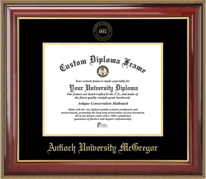 College - Antioch University McGregor  - Embossed Seal - Mahogany Gold Trim - Diploma Frame