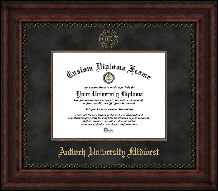 College - Antioch University Midwest  - Embossed Seal - Suede Mat - Mahogany - Diploma Frame