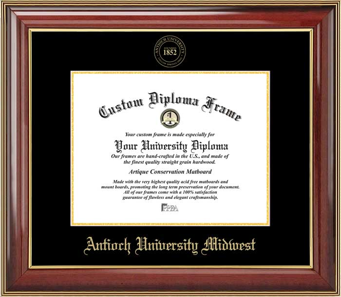 College - Antioch University Midwest  - Embossed Seal - Mahogany Gold Trim - Diploma Frame
