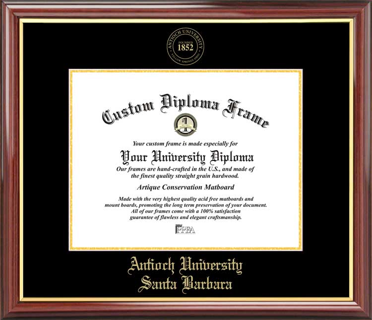College - Antioch University Santa Barbara  - Embossed Seal - Mahogany Gold Trim - Diploma Frame