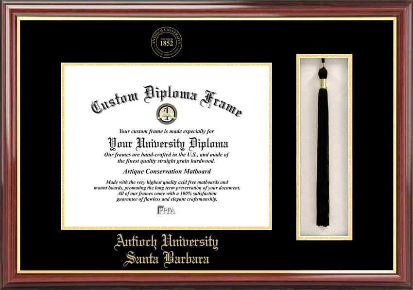 College - Antioch University Santa Barbara  - Embossed Seal - Tassel Box - Mahogany - Diploma Frame