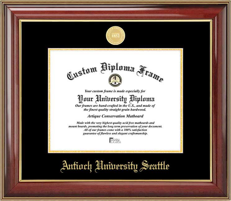 College - Antioch University Seattle  - Gold Medallion - Mahogany Gold Trim - Diploma Frame