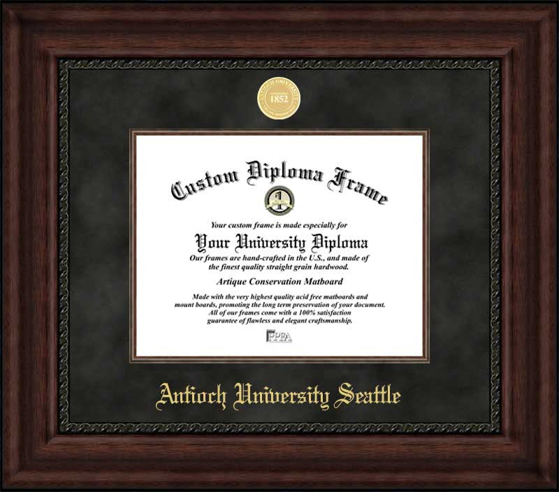 College - Antioch University Seattle  - Gold Medallion - Suede Mat - Mahogany - Diploma Frame