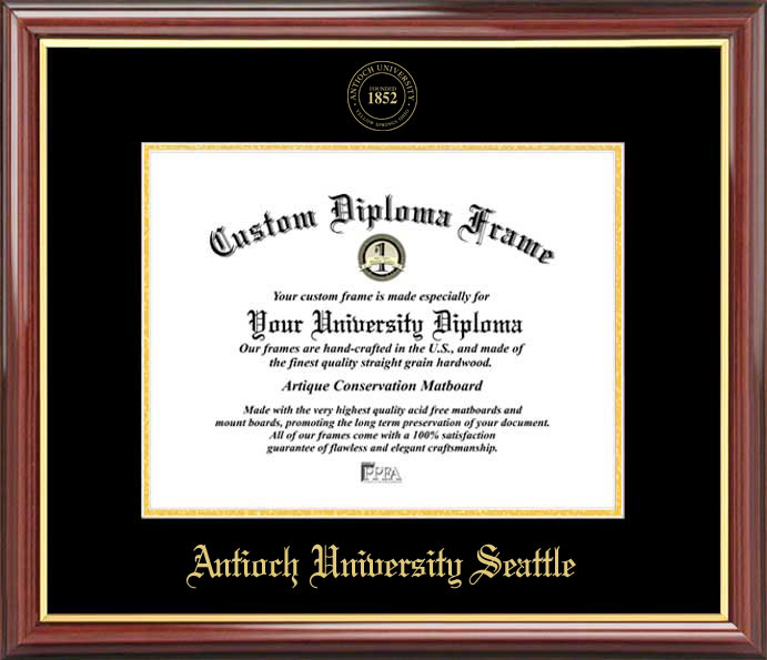 College - Antioch University Seattle  - Embossed Seal - Mahogany Gold Trim - Diploma Frame