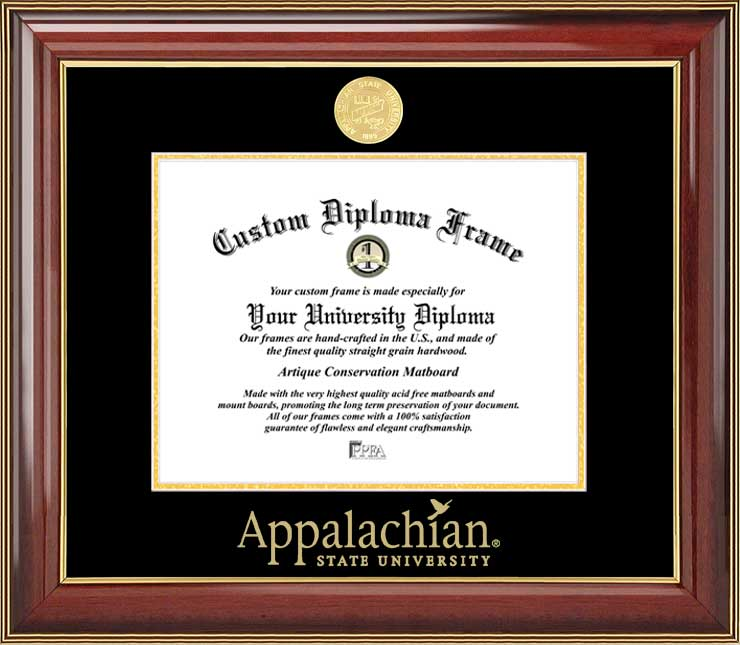 College - Appalachian State University Mountaineers - Gold Medallion - Mahogany Gold Trim - Diploma Frame