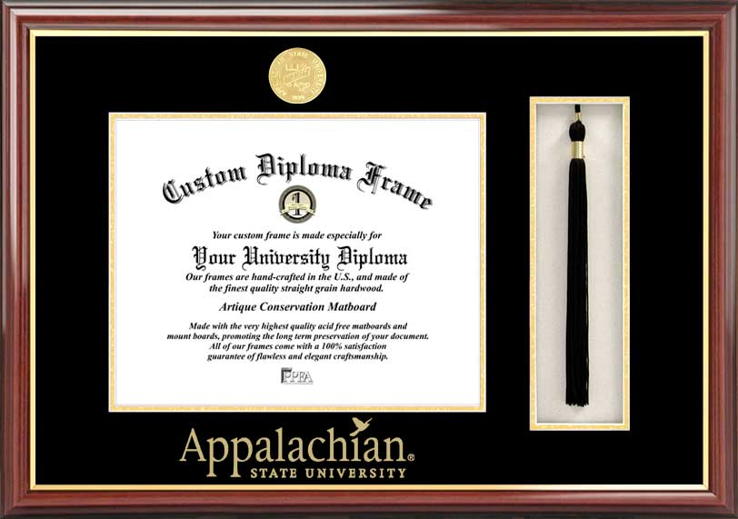 College - Appalachian State University Mountaineers - Gold Medallion - Tassel Box - Mahogany - Diploma Frame