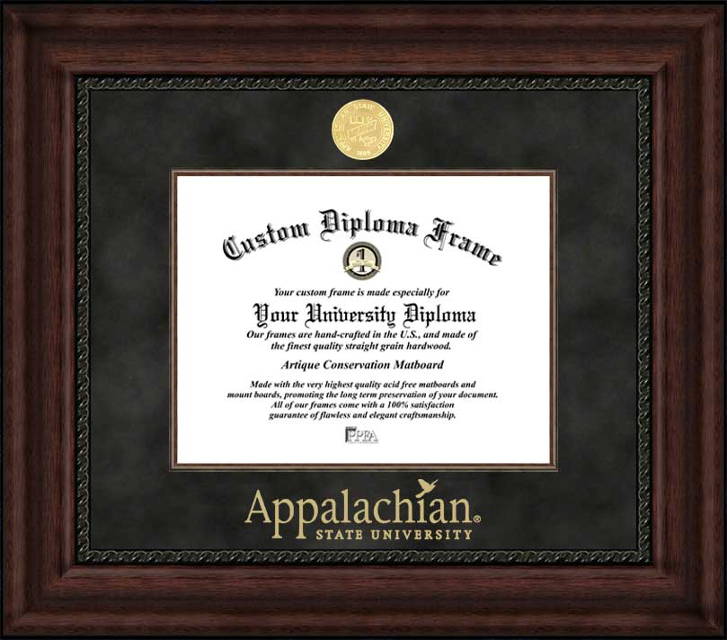 College - Appalachian State University Mountaineers - Gold Medallion - Suede Mat - Mahogany - Diploma Frame