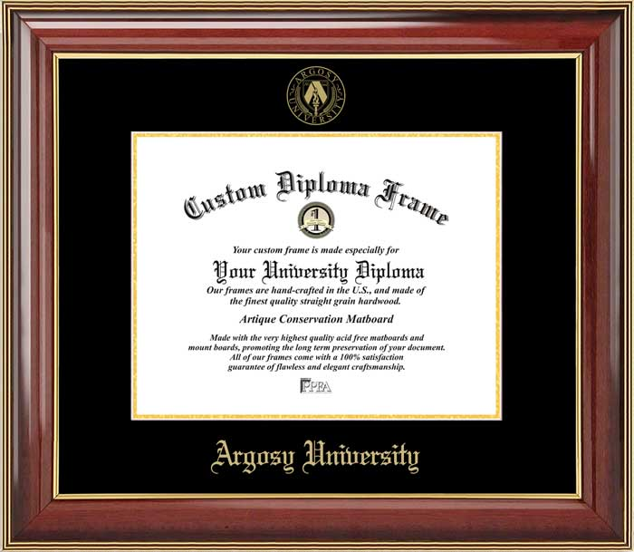College - Argosy University  - Embossed Seal - Mahogany Gold Trim - Diploma Frame