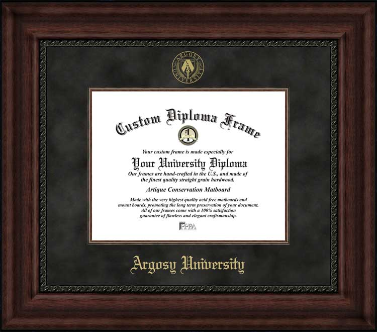 College - Argosy University  - Embossed Seal - Suede Mat - Mahogany - Diploma Frame