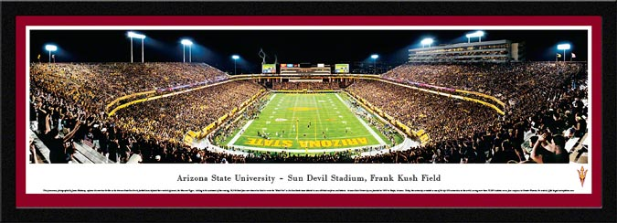 College - Arizona State Sun Devils - Sun Devil Stadium - Black Out - Framed Picture