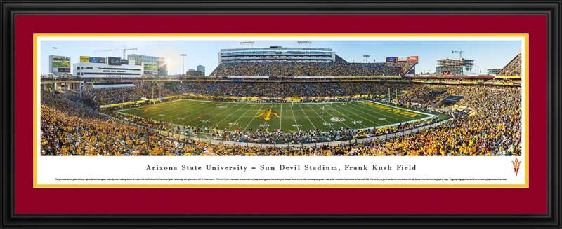 College - Arizona State Sun Devils - Sun Devil Stadium - Frank Kush Field - Framed Picture