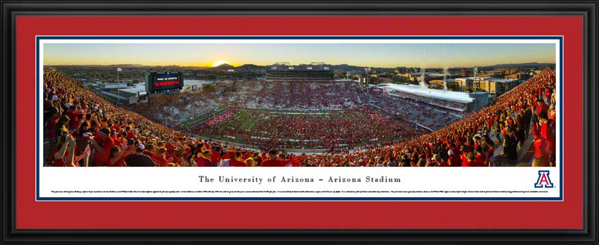 College - Arizona Wildcats - Arizona Stadium at Dusk 2014 - Framed Picture