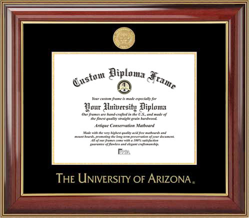College - University of Arizona Wildcats - Gold Medallion - Mahogany Gold Trim - Diploma Frame