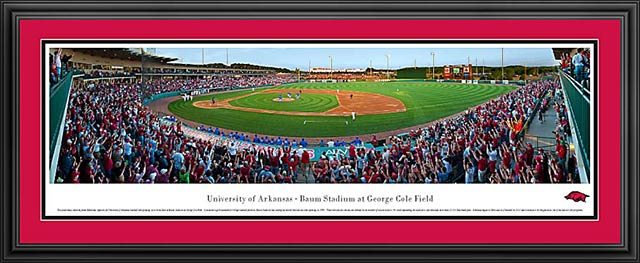 College - Arkansas Razorbacks - Baum Stadium at George Cole Field - Framed Picture