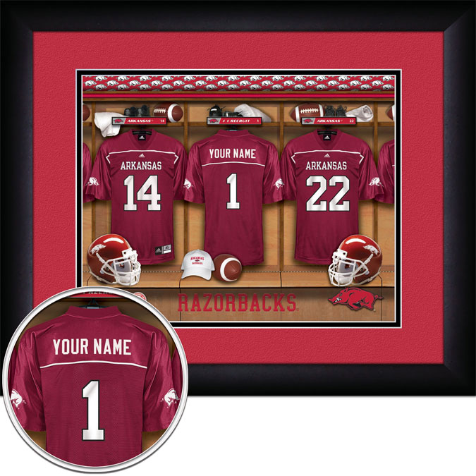 College - Arkansas Razorbacks - Personalized Locker Room - Framed Picture
