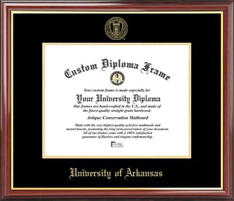 College - University of Arkansas at Fayetteville Razorbacks - Embossed Seal - Mahogany Gold Trim - Diploma Frame