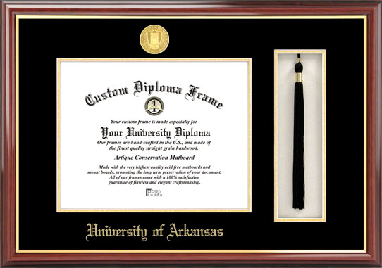 College - University of Arkansas at Fayetteville Razorbacks - Gold Medallion - Tassel Box - Mahogany - Diploma Frame