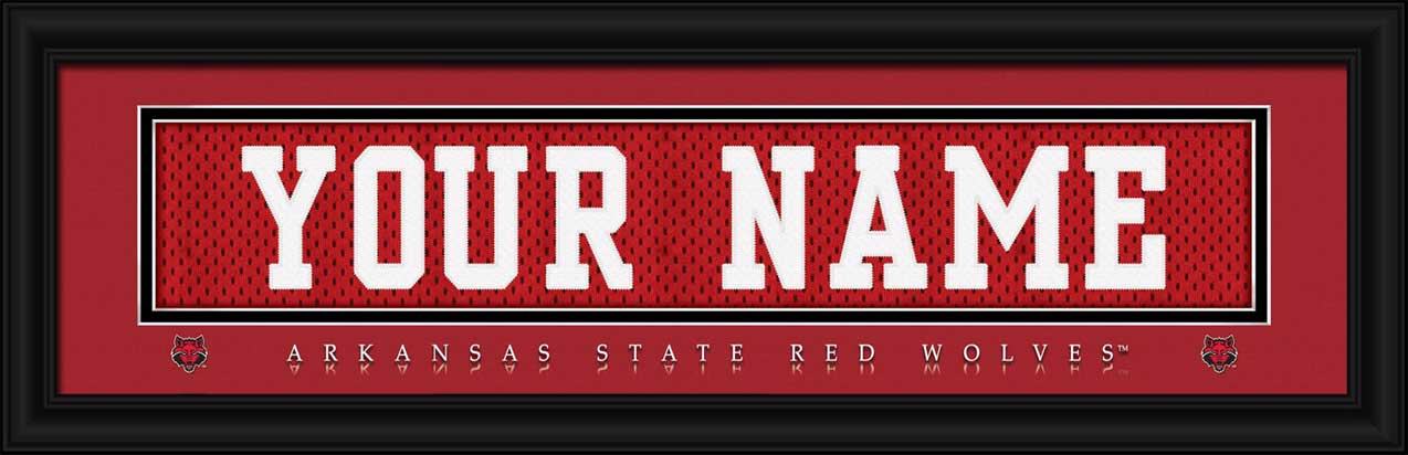 College - Arkansas State Red Wolves - Personalized Jersey Nameplate - Framed Picture