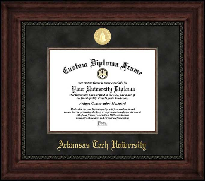 College - Arkansas Tech University Wonder Boys - Gold Medallion - Suede Mat - Mahogany - Diploma Frame