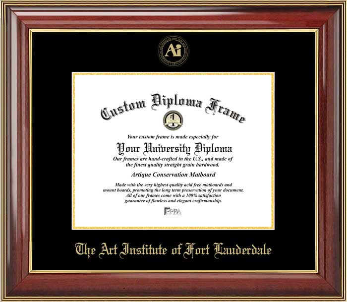 College - Art Institute of Fort Lauderdale  - Embossed Seal - Mahogany Gold Trim - Diploma Frame