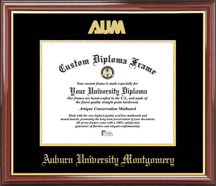 College - Auburn University Montgomery Warhawks - Embossed Seal - Mahogany Gold Trim - Diploma Frame