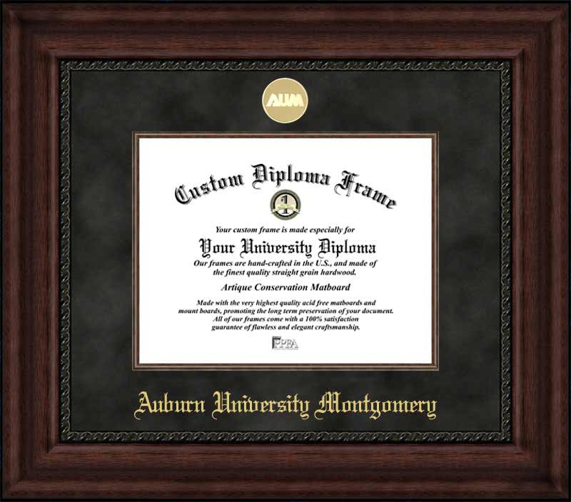 College - Auburn University Montgomery Warhawks - Gold Medallion - Suede Mat - Mahogany - Diploma Frame