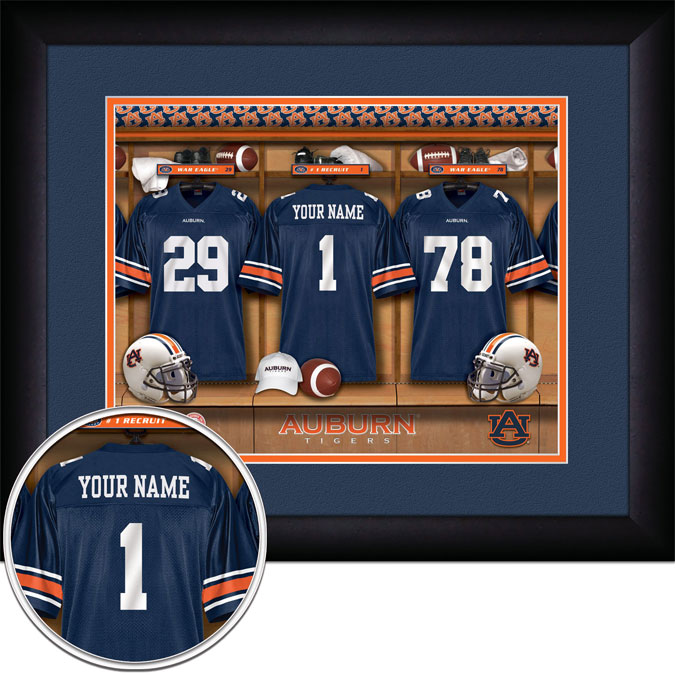 College - Auburn Tigers - Personalized Locker Room - Framed Picture